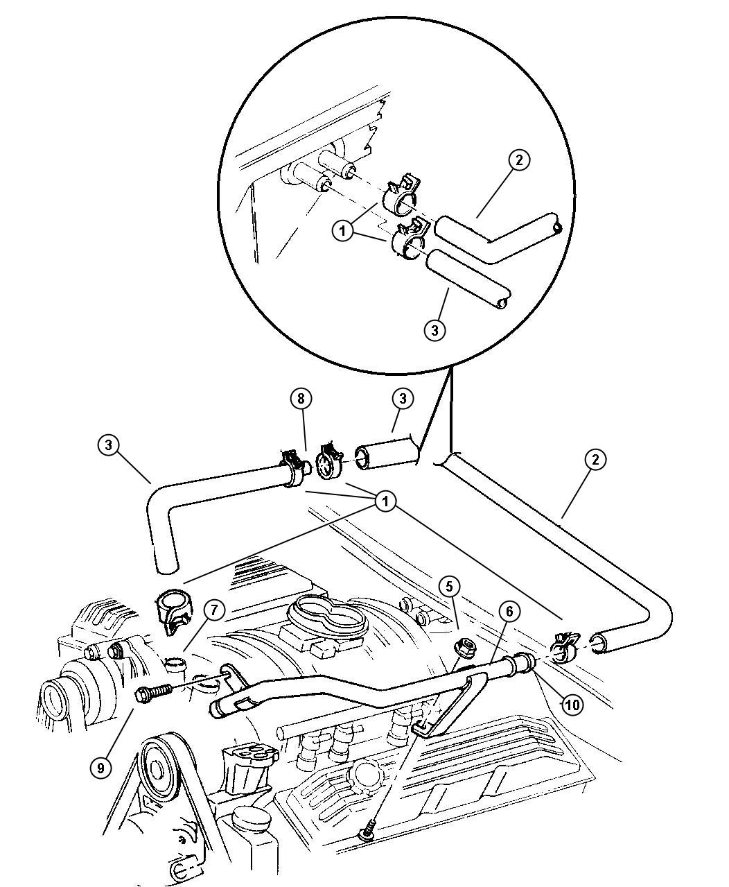 Dodge Ram O Ring Tube Assy Heater Return Engine Hoses Front
