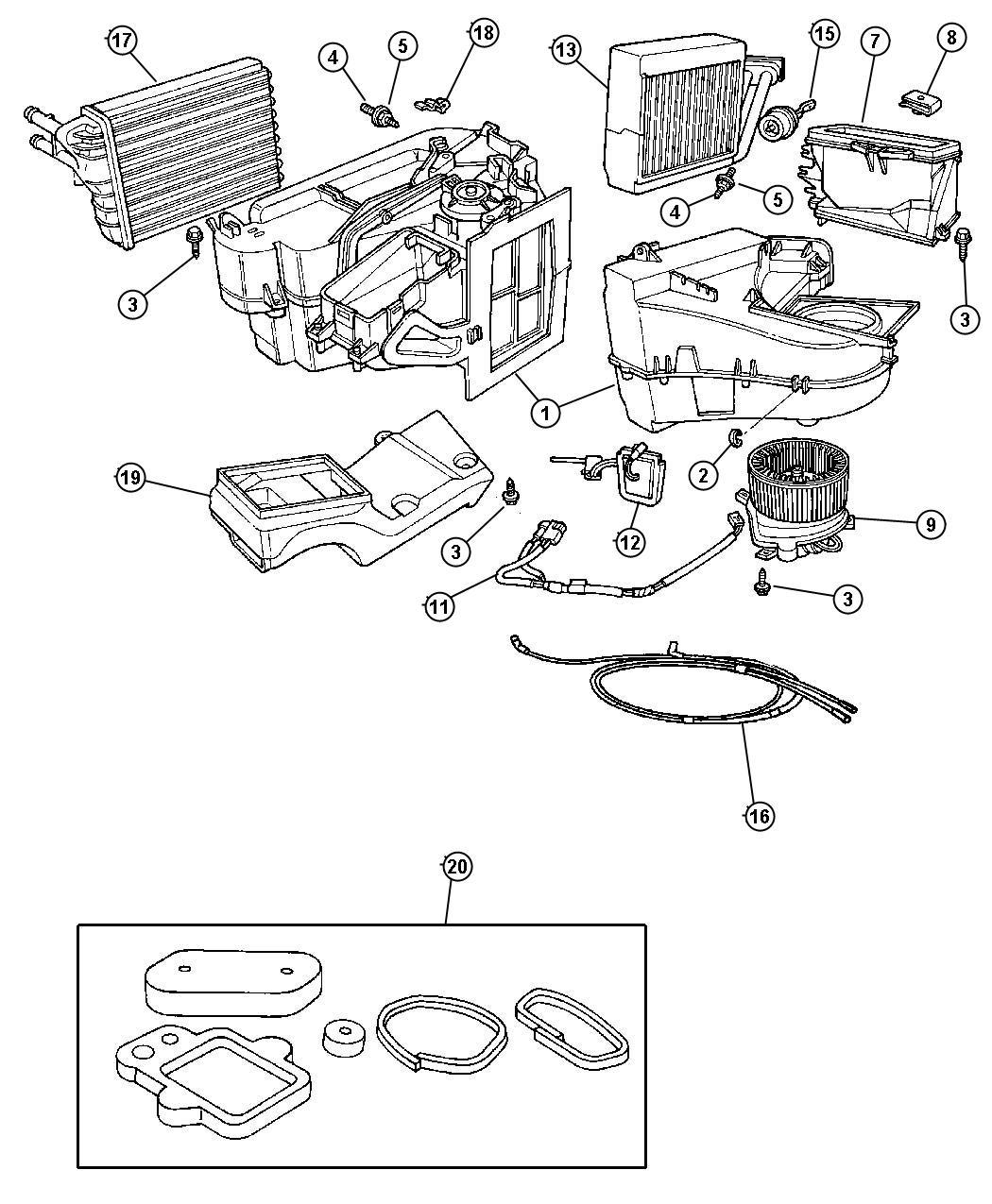 Chrysler Pt Cruiser Evaporator Air Conditioning Liners Grommet Tube
