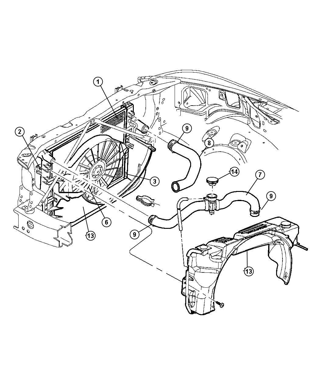 Dodge Dakota Hose Radiator Inlet Includes Cap