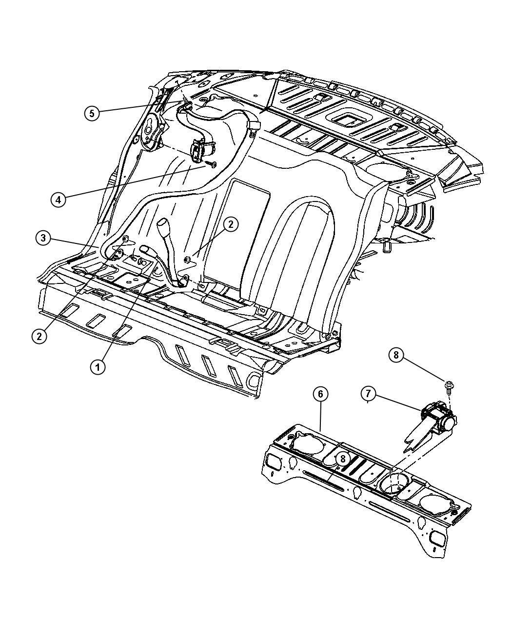 Dodge Intrepid Seat Belt Right Rear Outer L5 Trim O0 Color L5