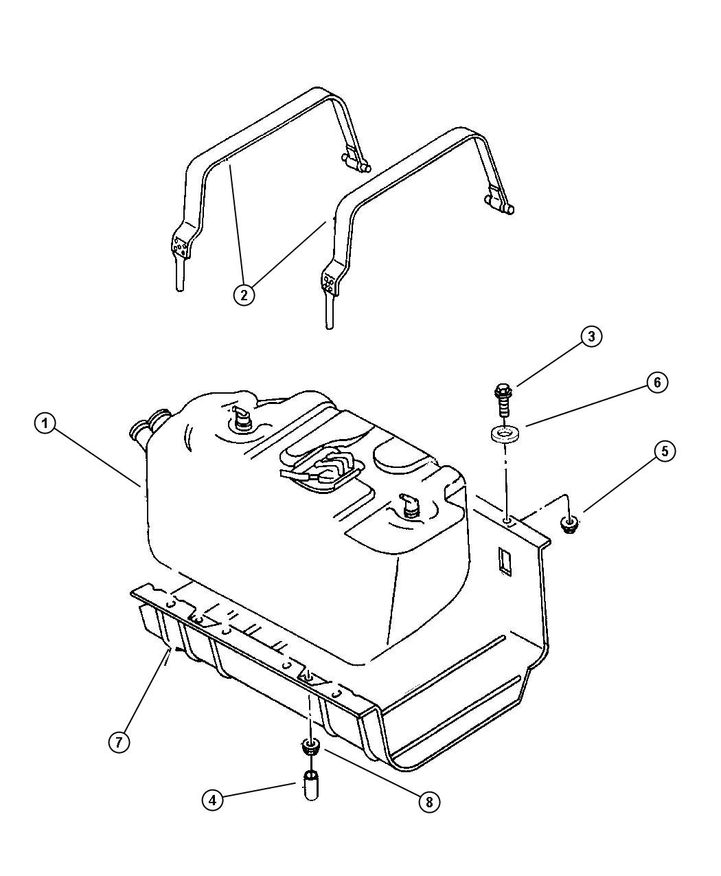 Jeep Wrangler Cap Support Strap Stud Fuel Tank