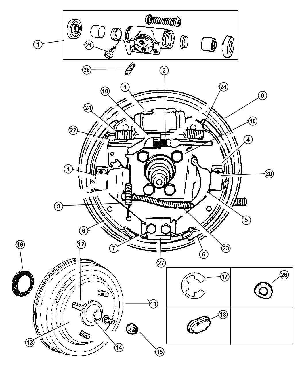 Dodge Journey Shoe Kit Brake Wheel Mopar Alternative