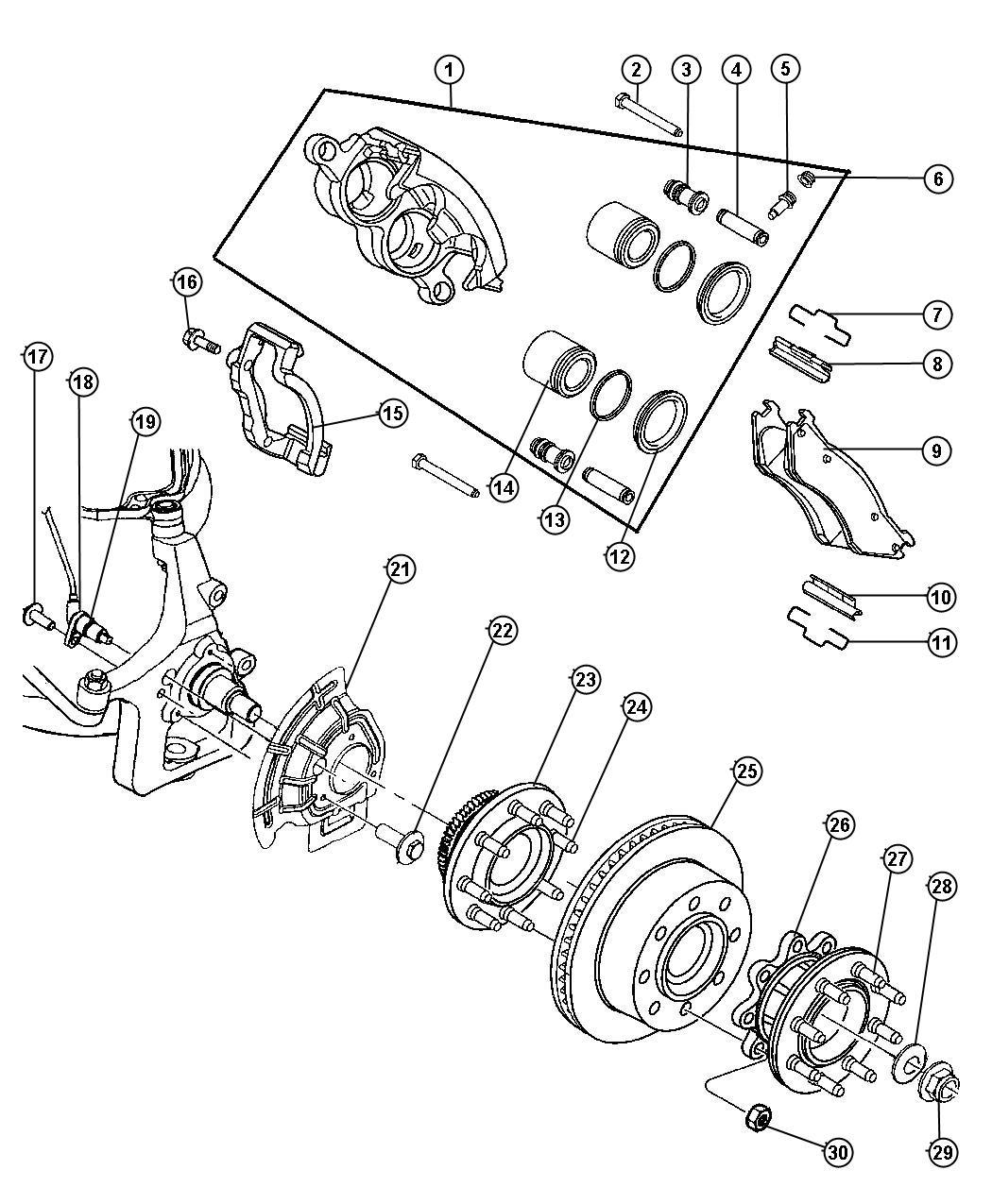 Dodge Ram Caliper Right Disc Brake Mopar Reman Fully Loaded Caliper Assembly