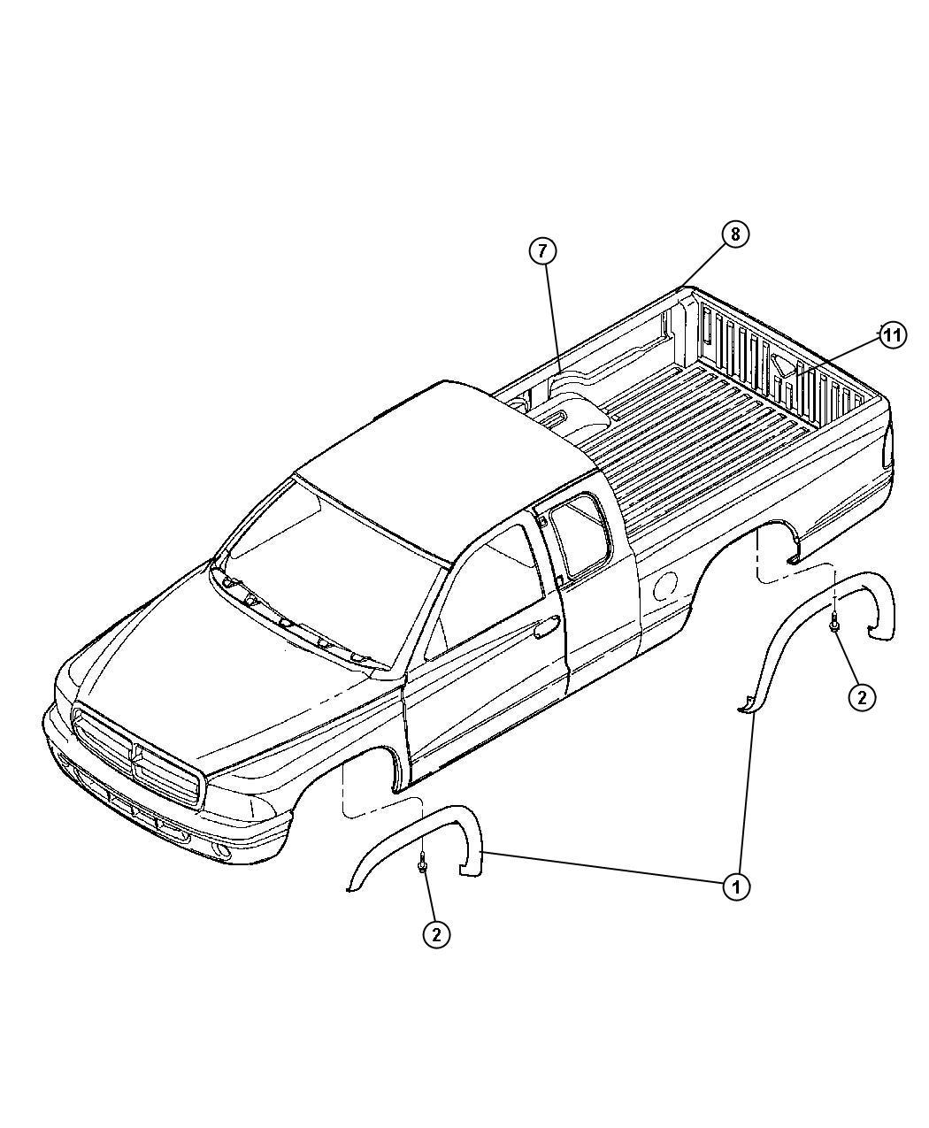 Dodge Dakota Molding Kit Wheel Lip Opening Black Flat
