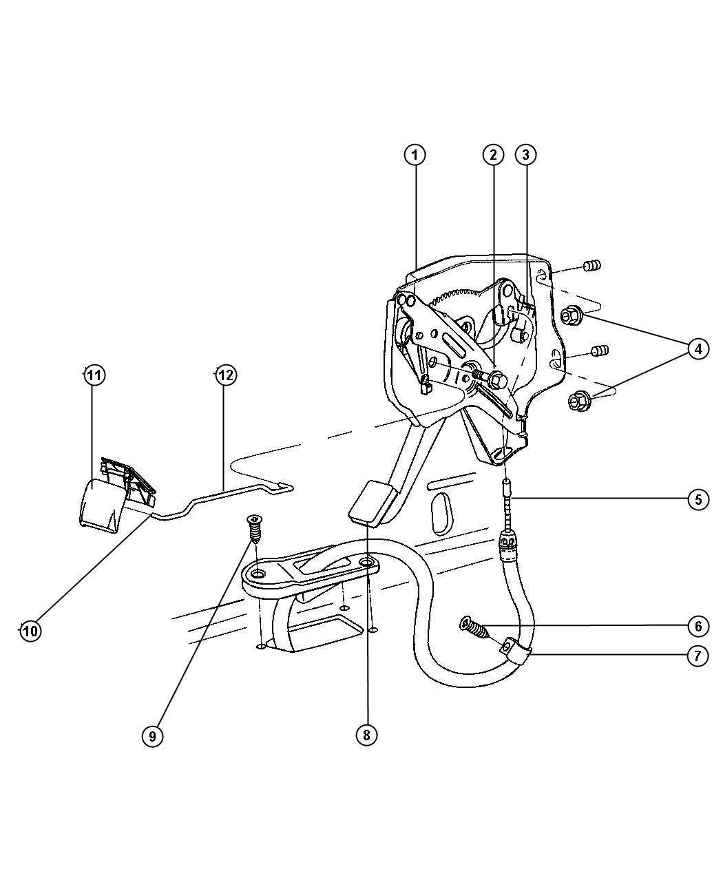 Chrysler Sebring Cable Parking Brake Front Pump