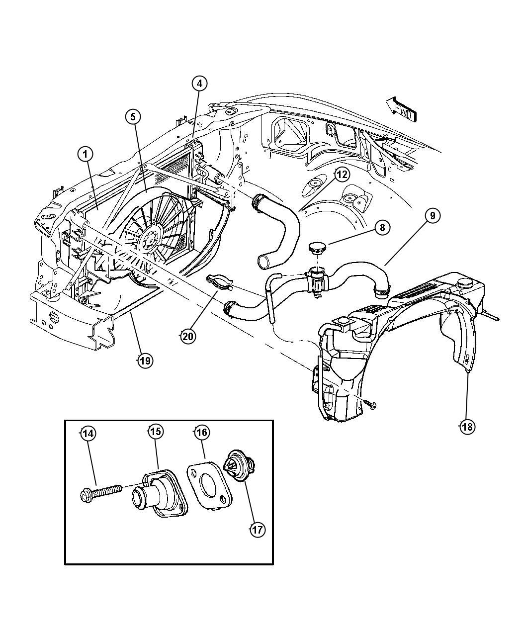 Jeep Grand Cherokee Hose Radiator Inlet Clutch