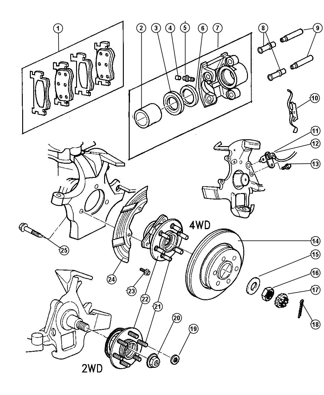 Dodge Dakota Bolt Hub Mounting Hub And Bearing To