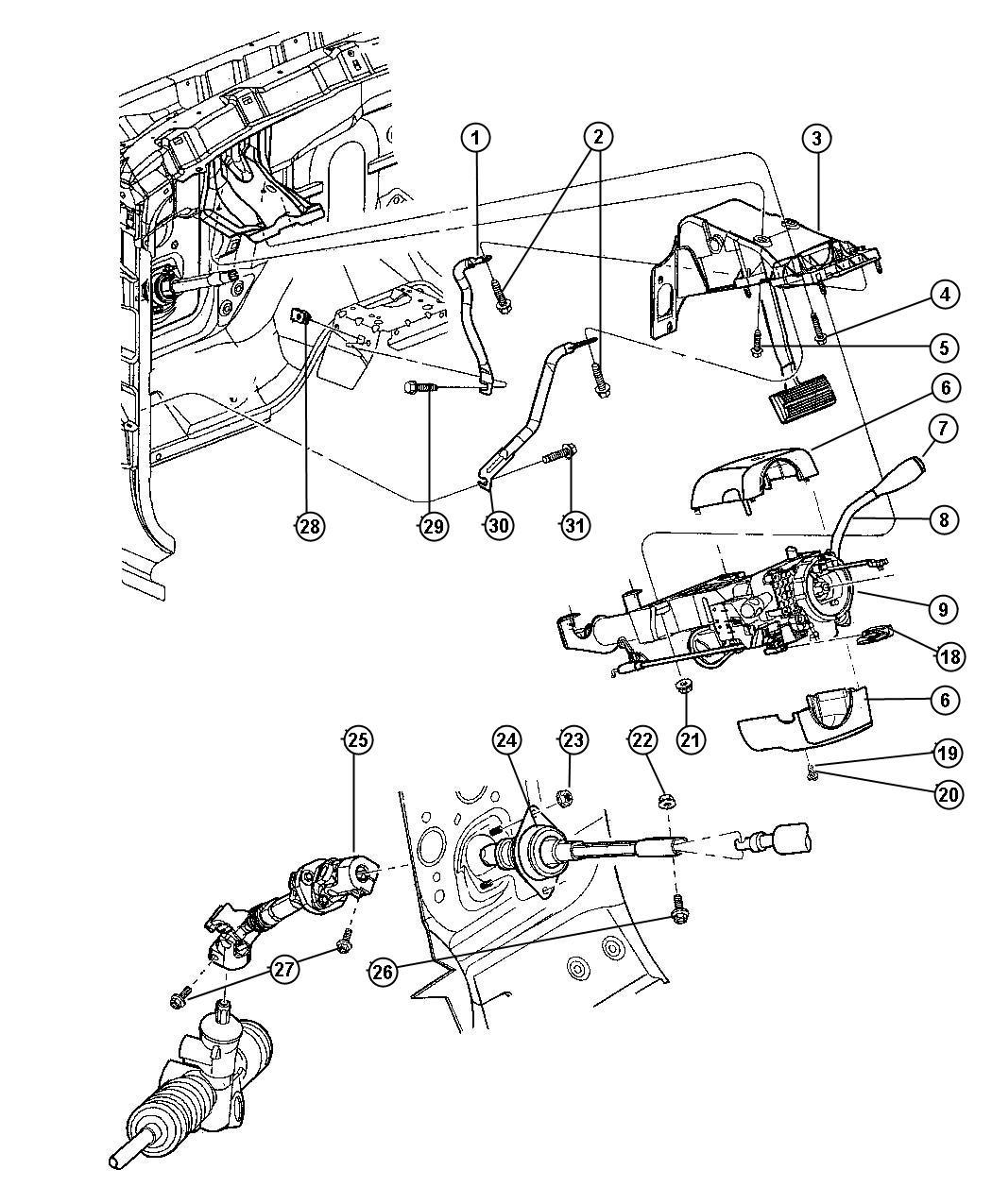 Dodge Durango Knob Tilt Lever Release Steering