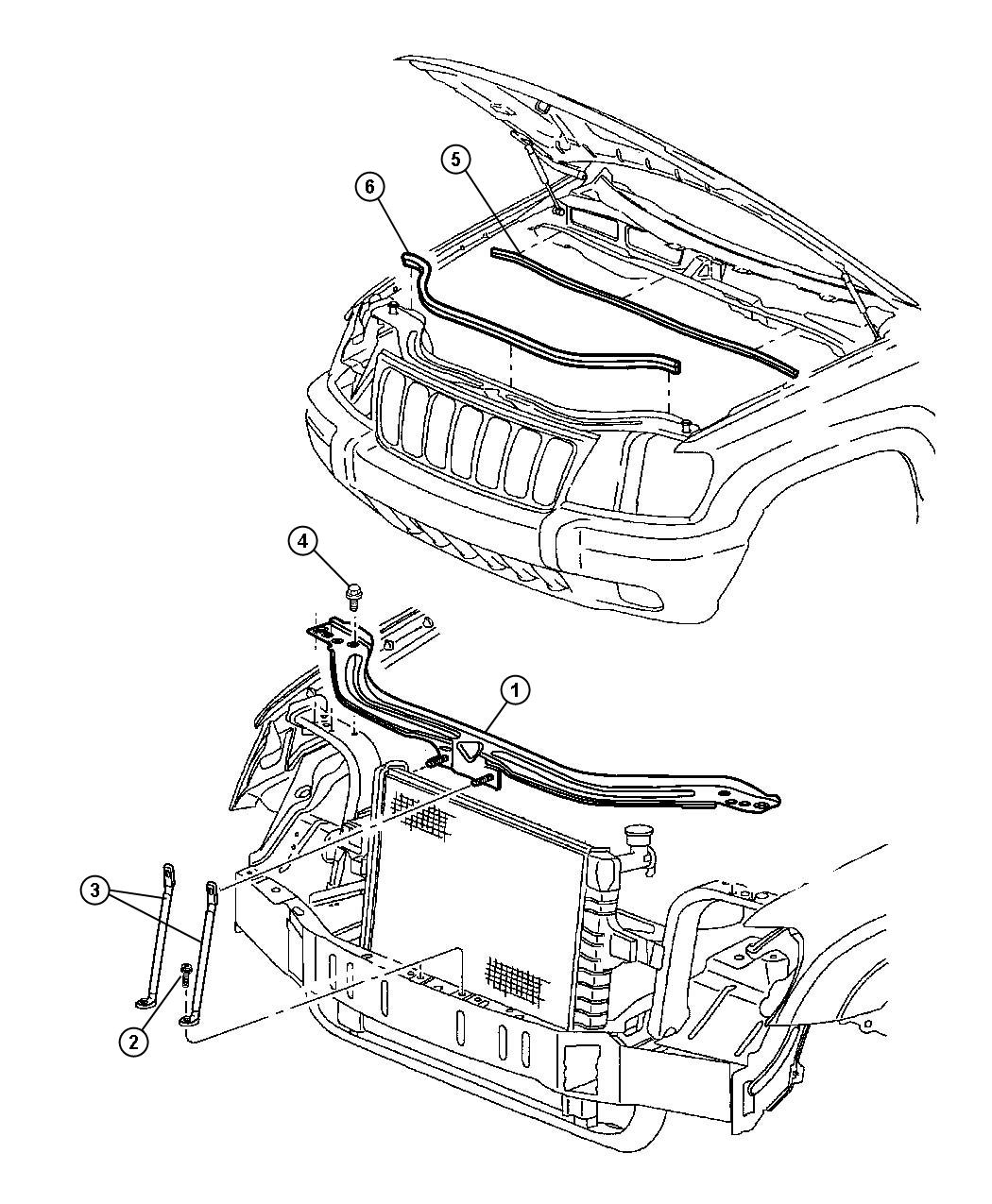 Jeep Cherokee Crossmember Radiator Upper Related