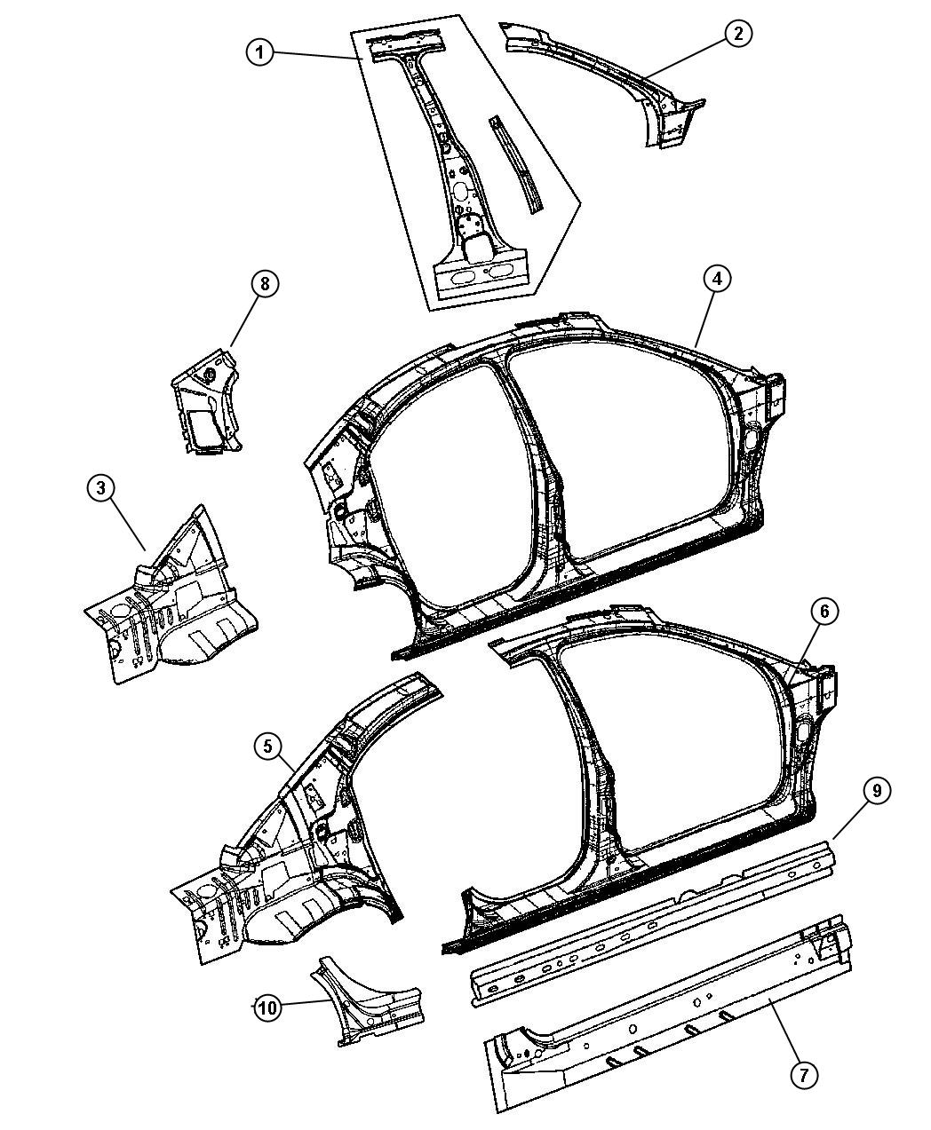Dodge Stratus Panel Body Side Aperture Rear Panels