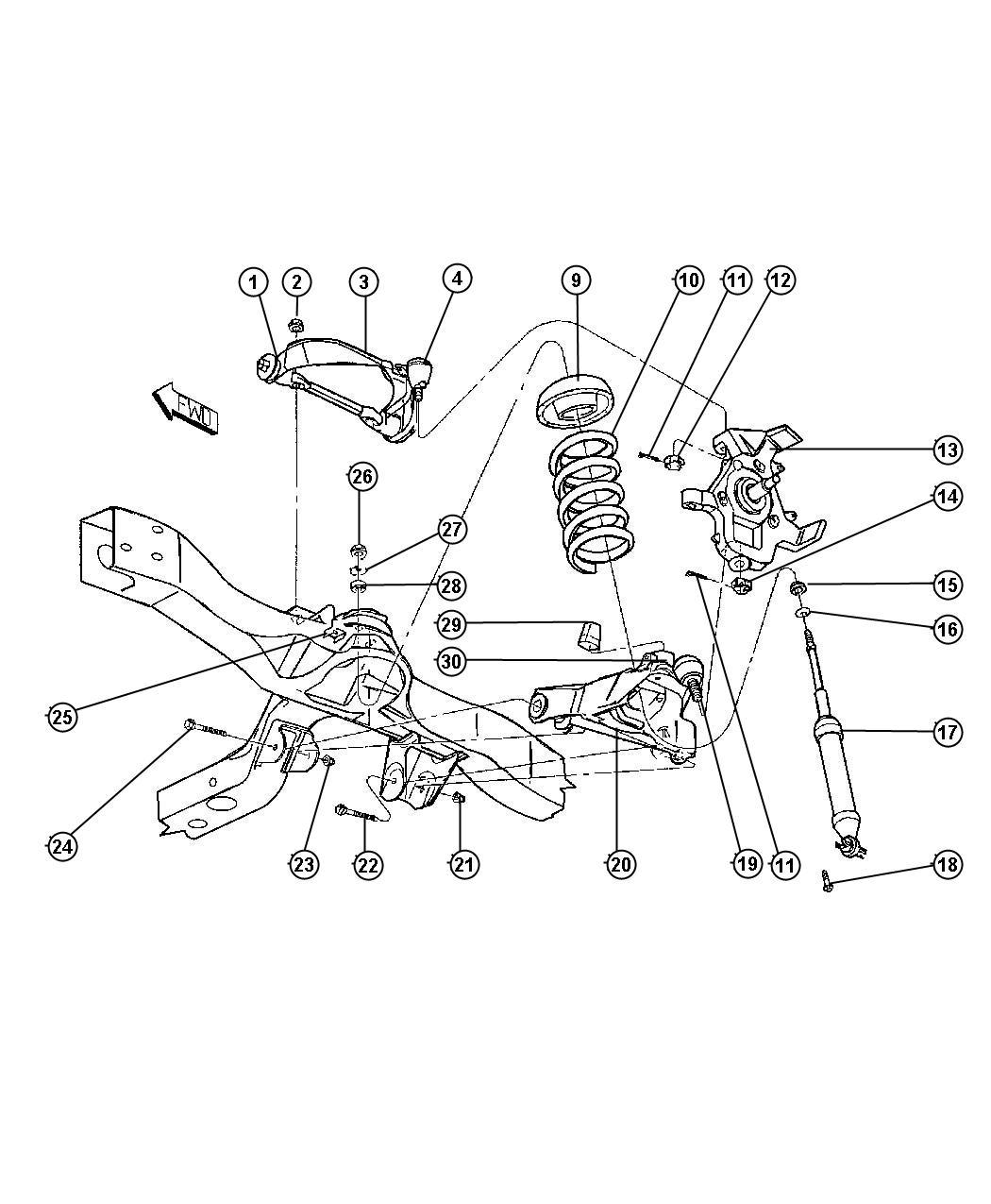 Dodge Dakota Bumper Jounce Lower Control Arm Upper