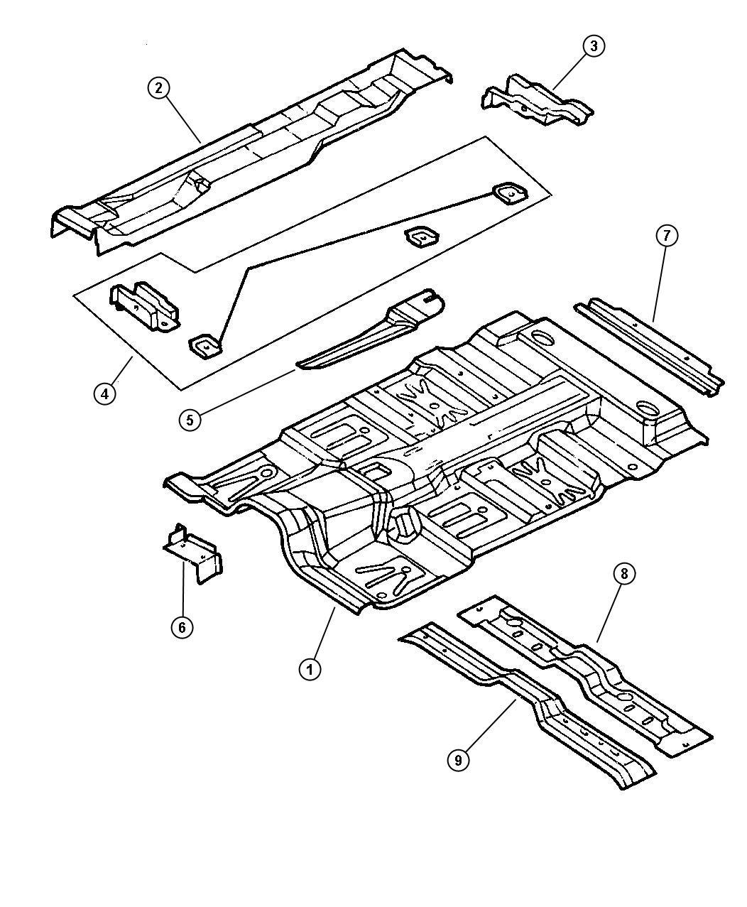 Dodge Dakota Crossmember Rear Floor Seat Belt Attach
