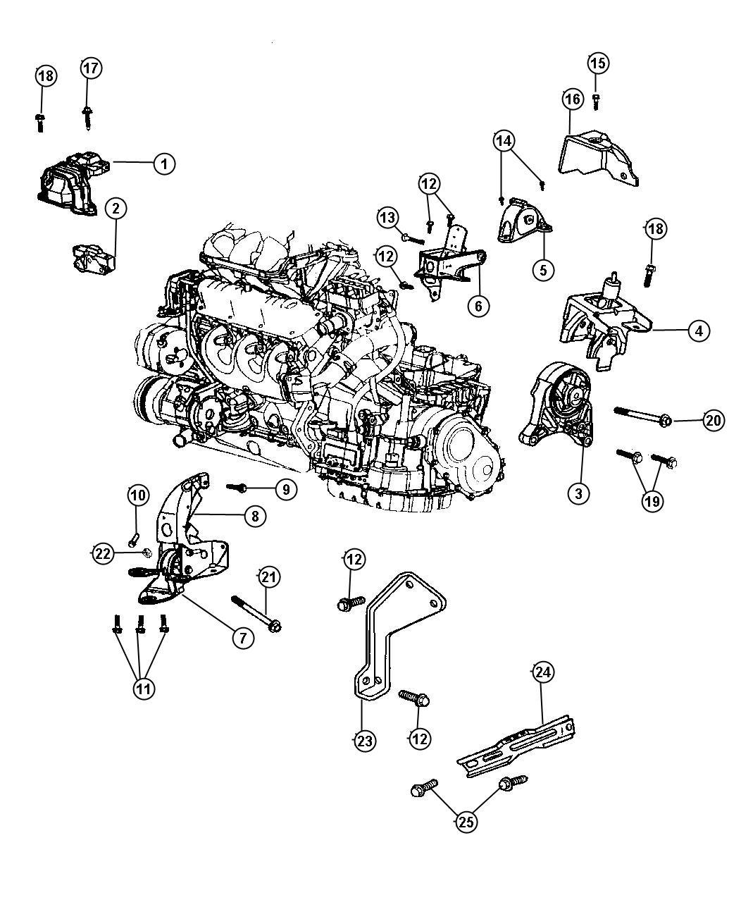 Chrysler Voyager Support Transmission Rear Front