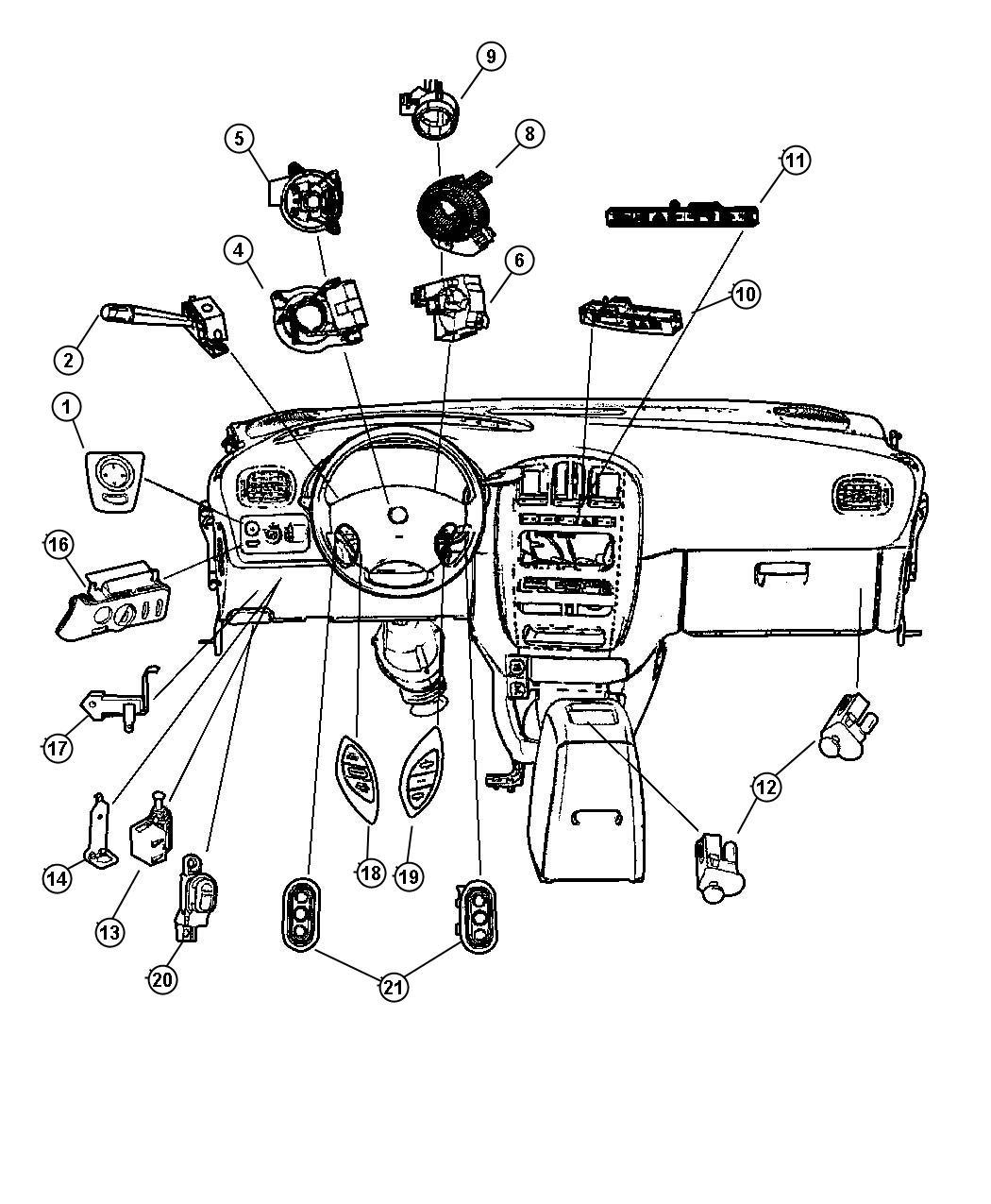Dodge Grand Caravan Switch And Bezel Lighting Control Trim O0 Color T5