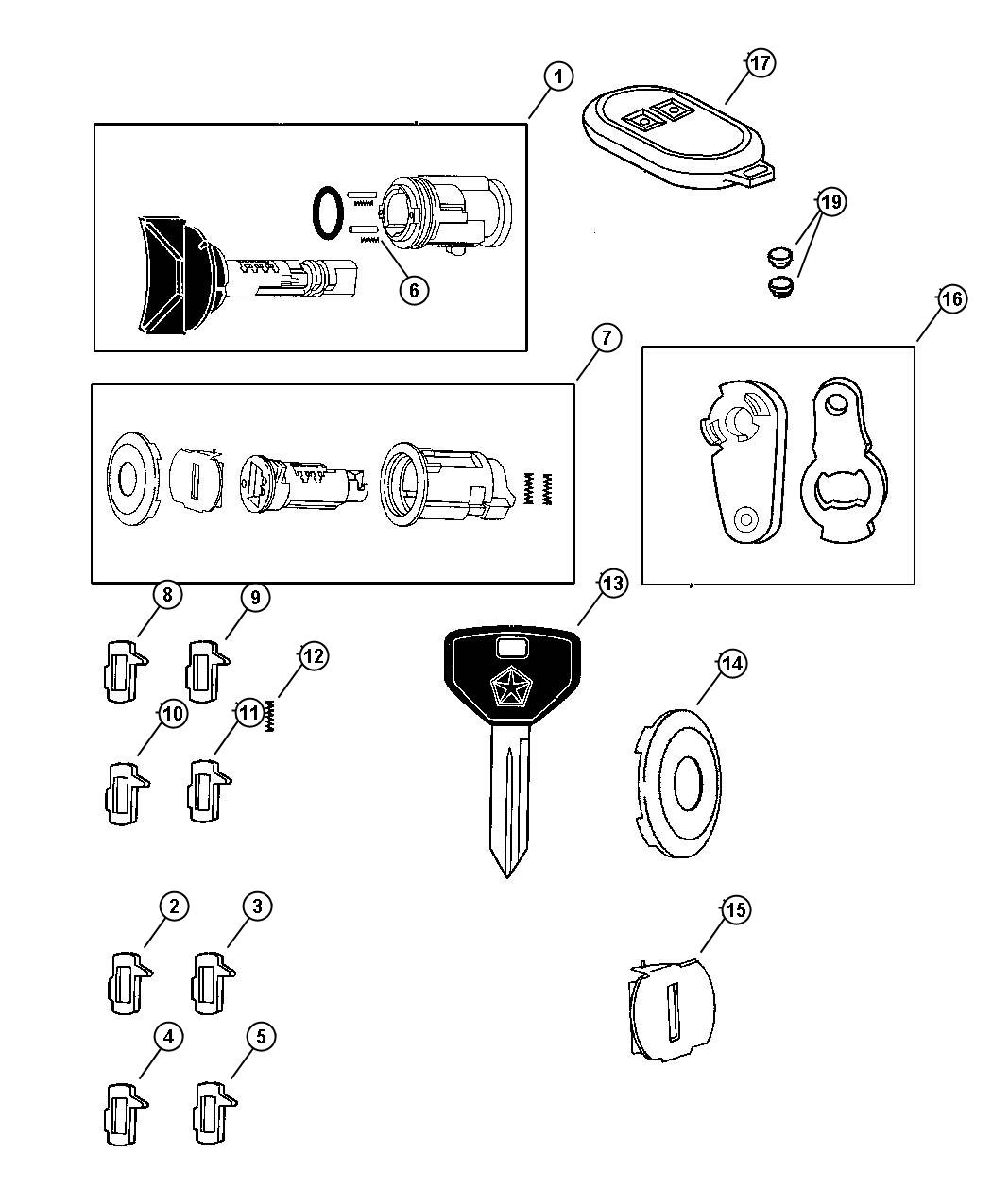 Chrysler 300 Receiver Keyless Entry Gxr After 7 13 01 Lock Rear Components