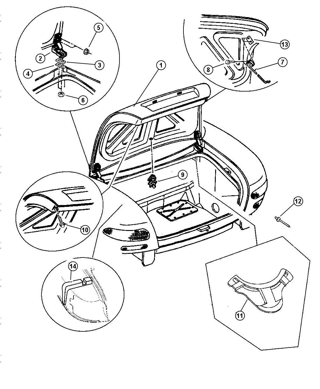 Dodge Viper Rod Deck Lid Prop Deck Lid Prop Rear