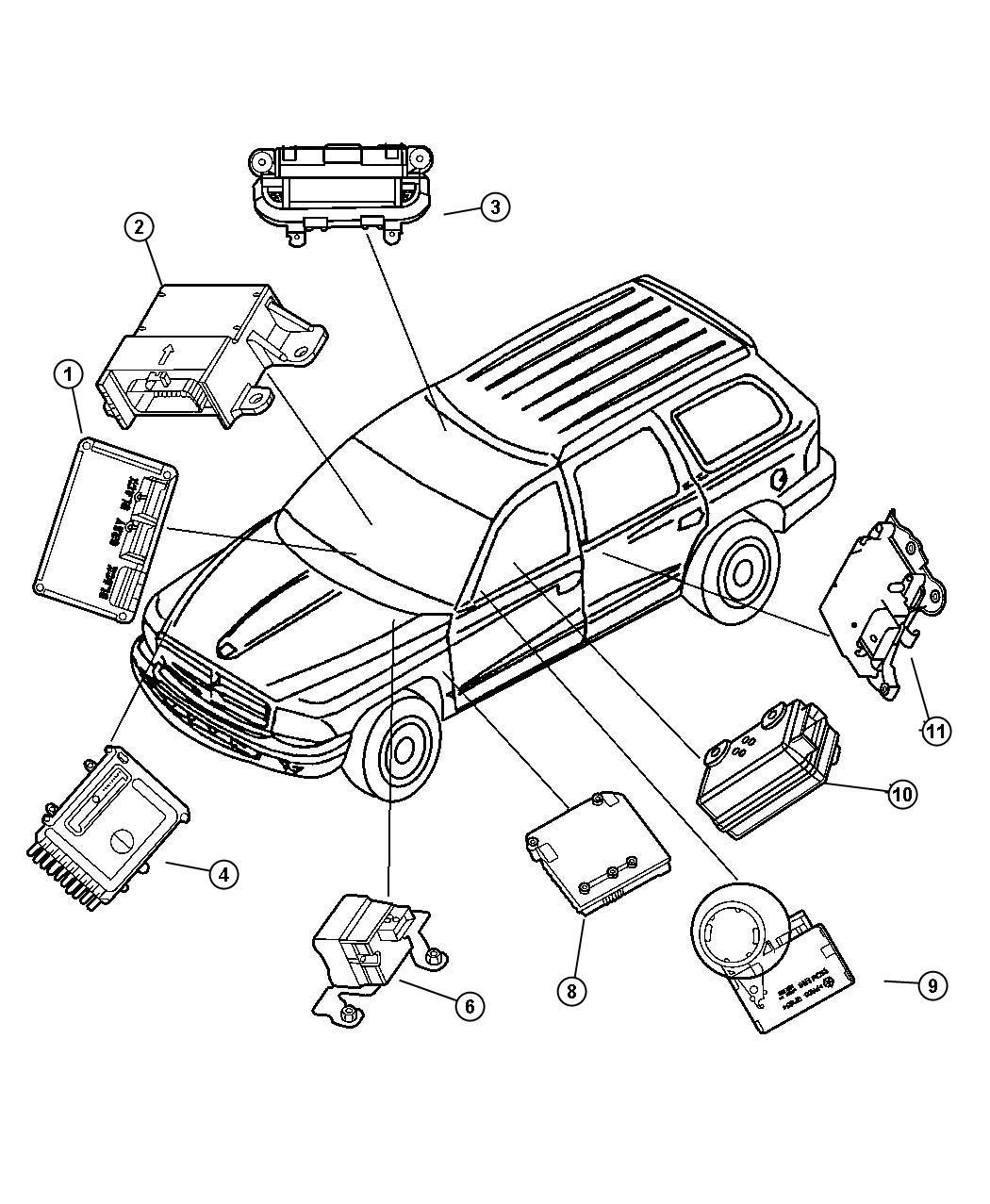 Dodge Dakota Module Air Bag Control Entertainment Electrical Generation