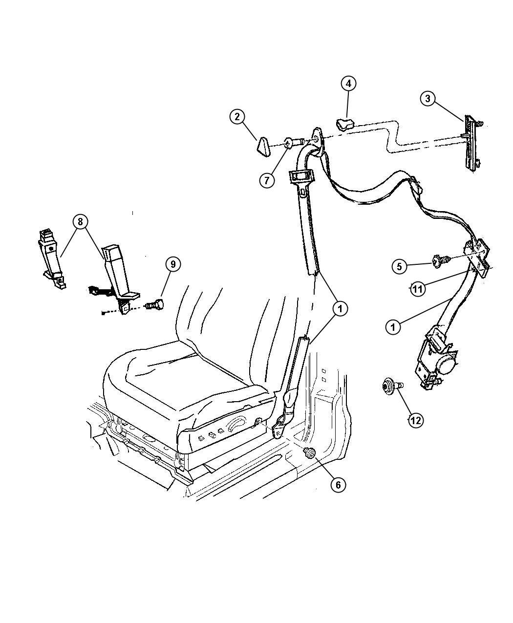 Dodge Dakota Seat Belt Center Right Front Inner