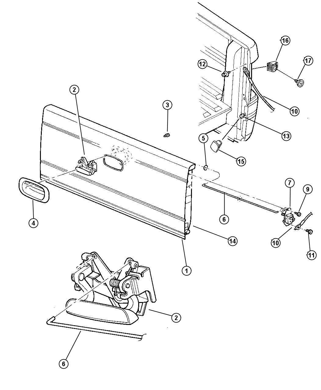 Dodge Dakota Bushing Tailgate Pivot Body Wiring