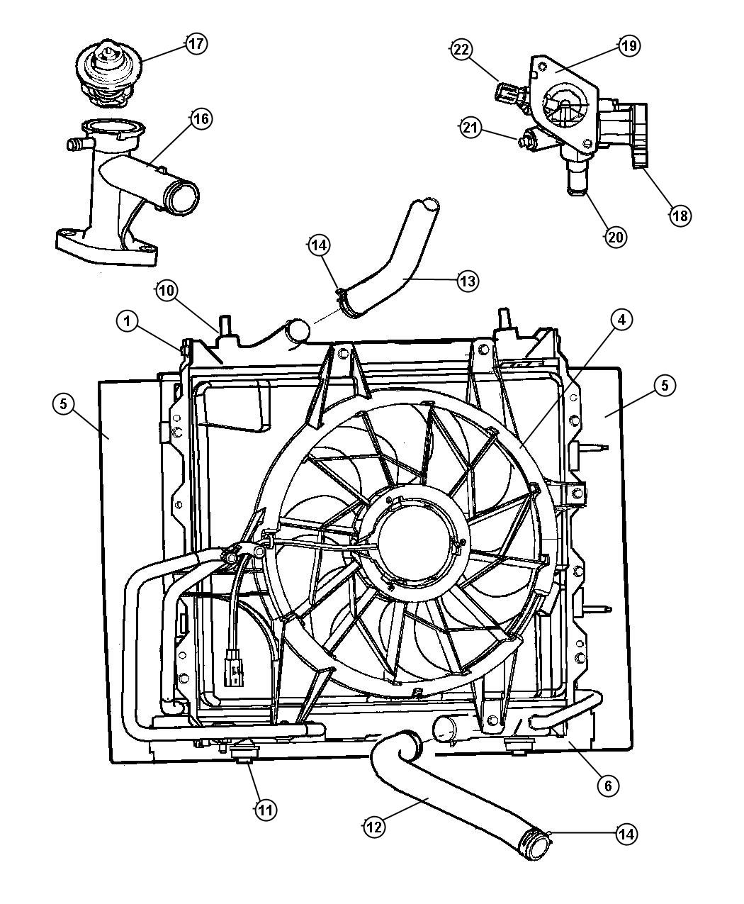 Chrysler 300 Connector Engine Coolant Outlet