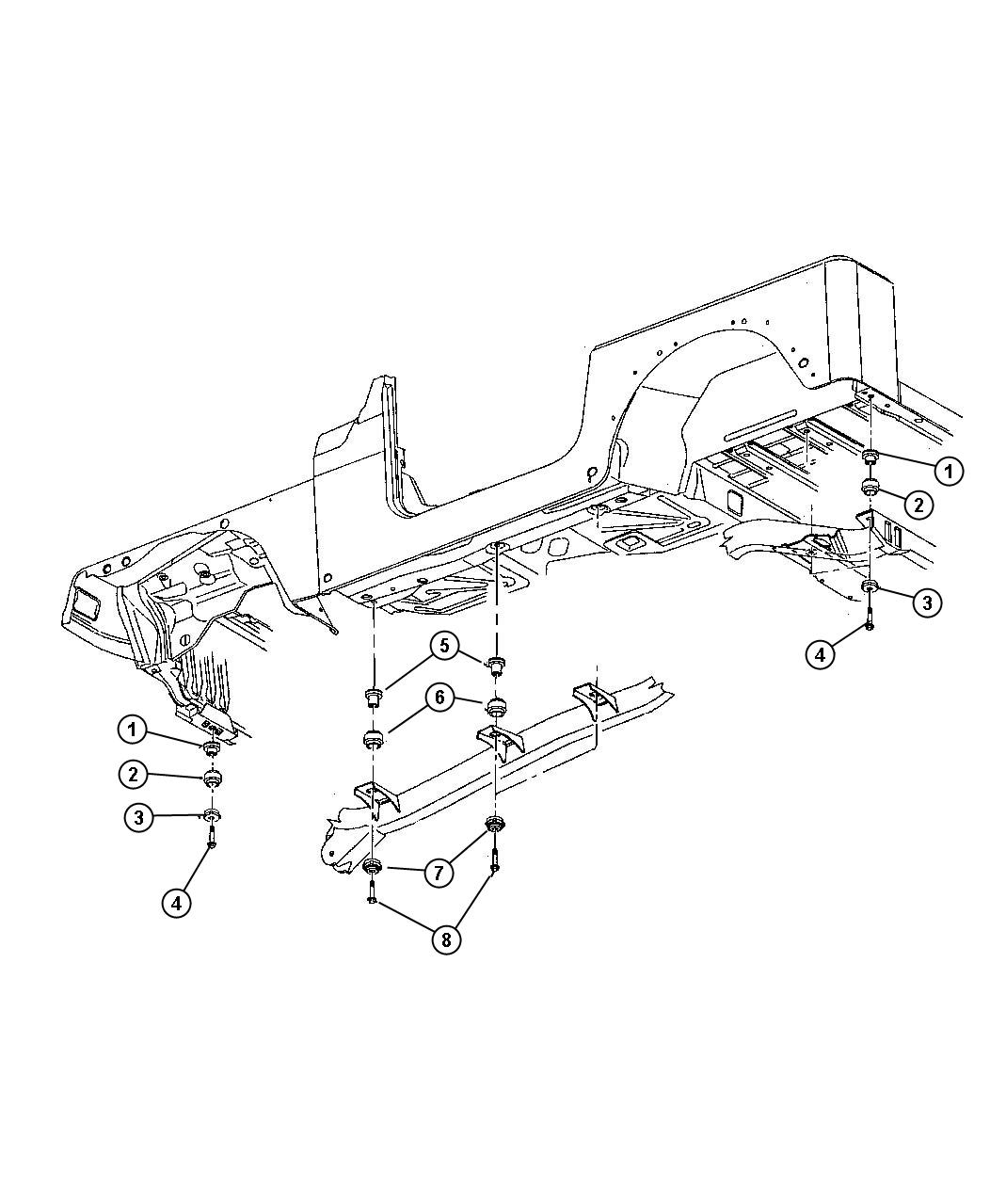 Dodge Caliber Insulator Body Hold Down Lower Body Mount