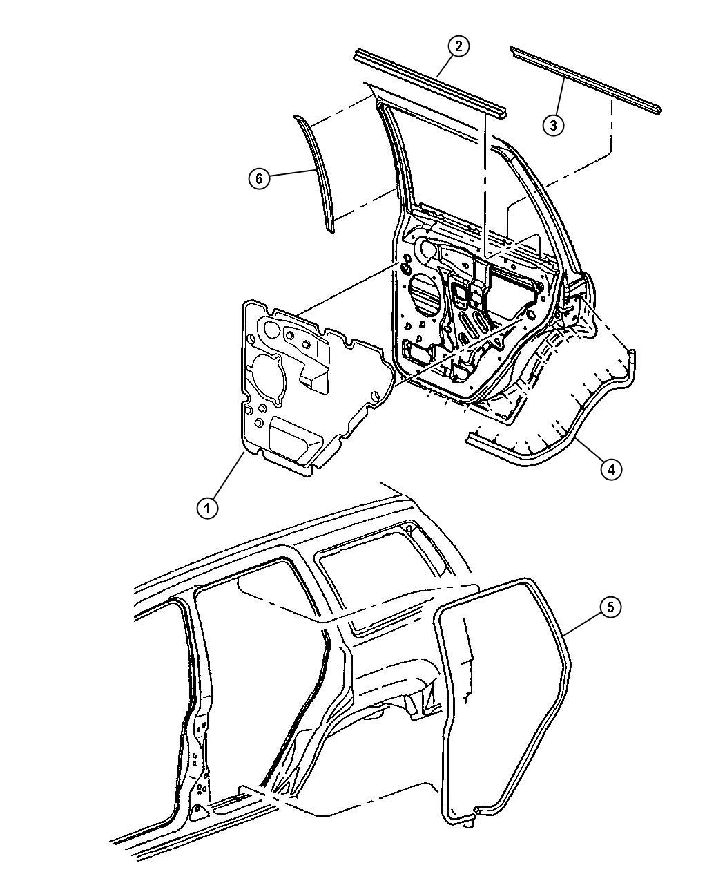 Dodge Sprinter Seal Rear Door Left Lower Wiring