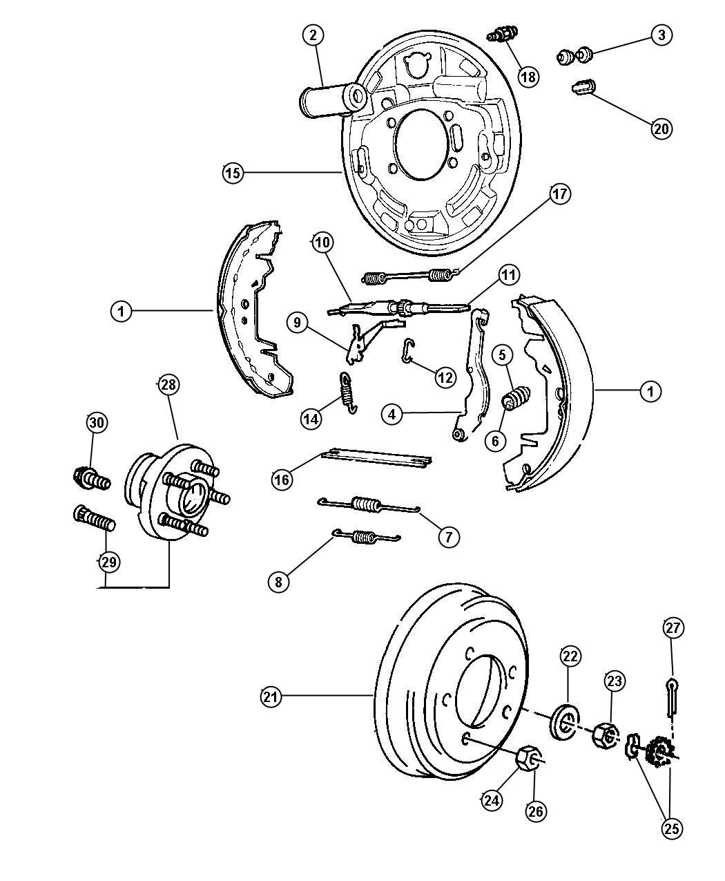 Chrysler Voyager Backing Plate Rear Drum Brake Left Brakes Power Front