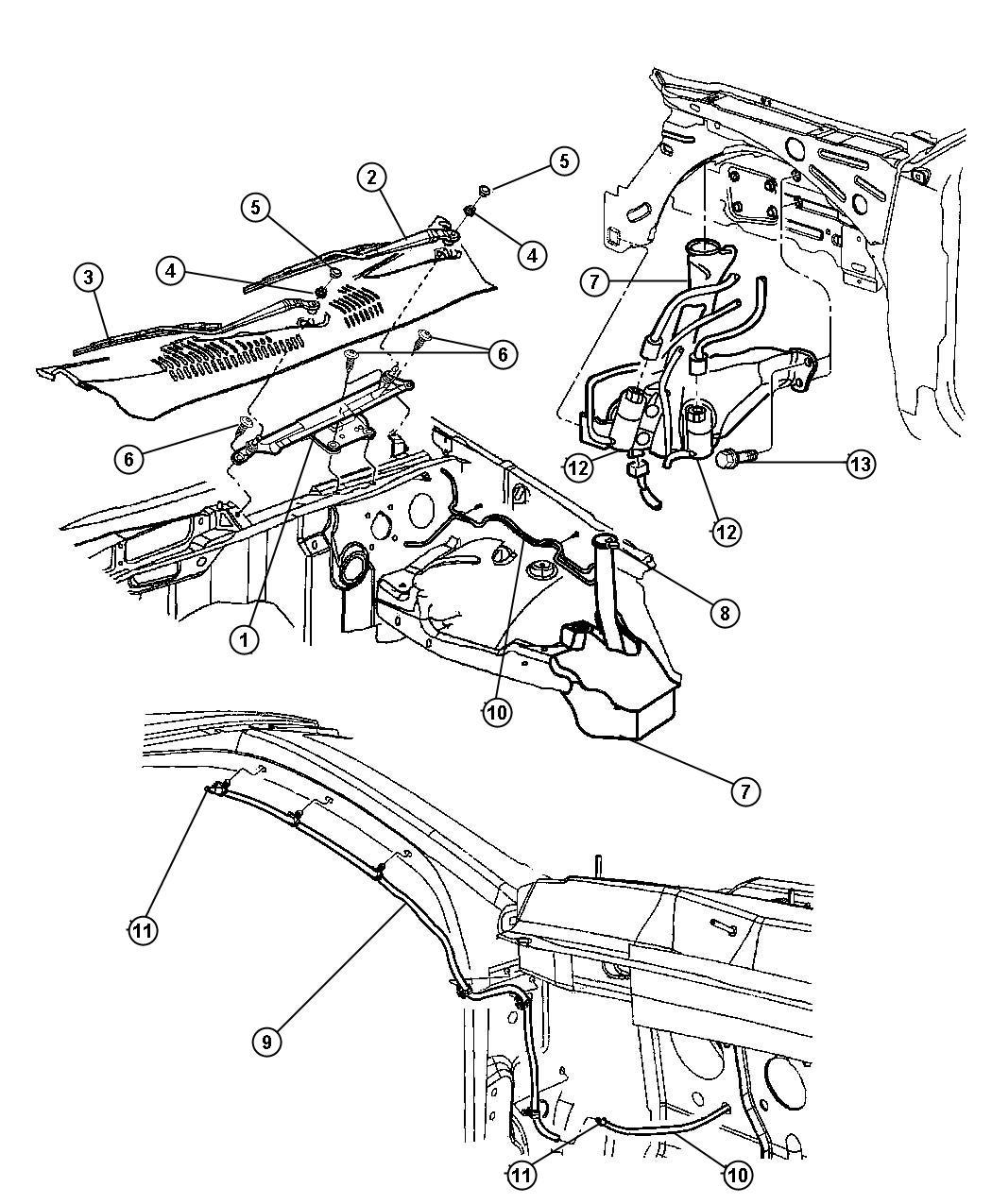 Dodge Dakota Module Wiper Wiper Motor Included