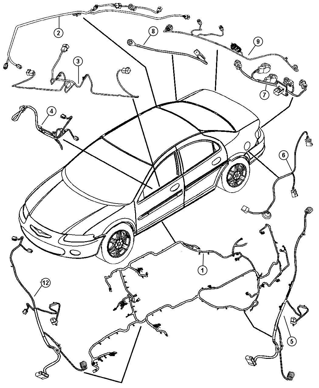 Dodge Stratus Wiring Headliner Base Trim All Trim