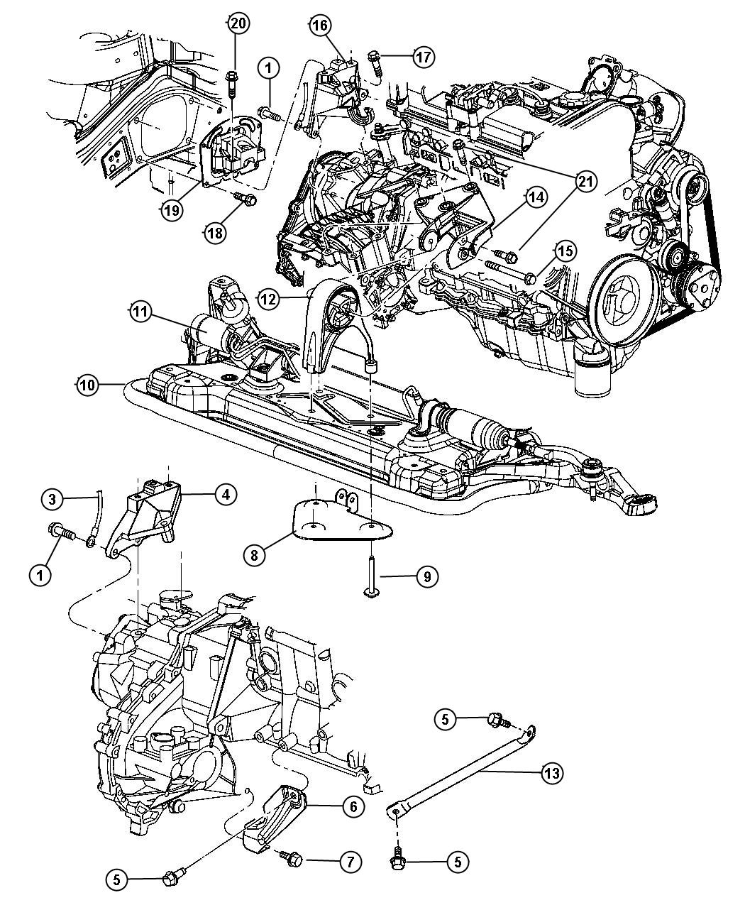 Dodge Stratus Bracket Torque Reaction Engine