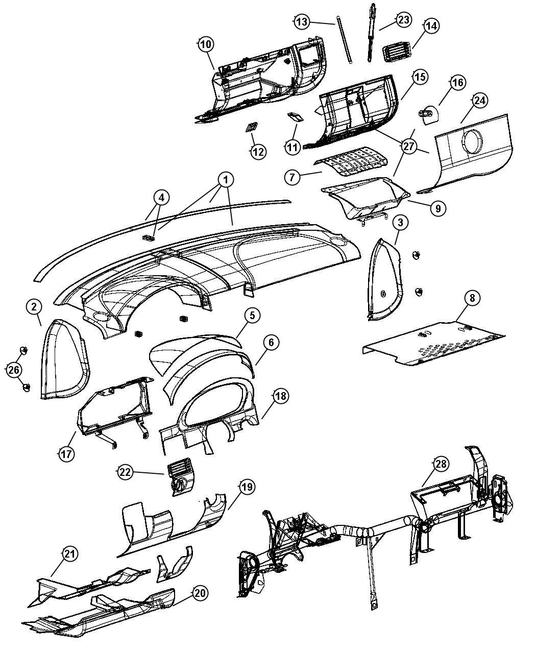 chrysler crossfire cover instrument panel steering