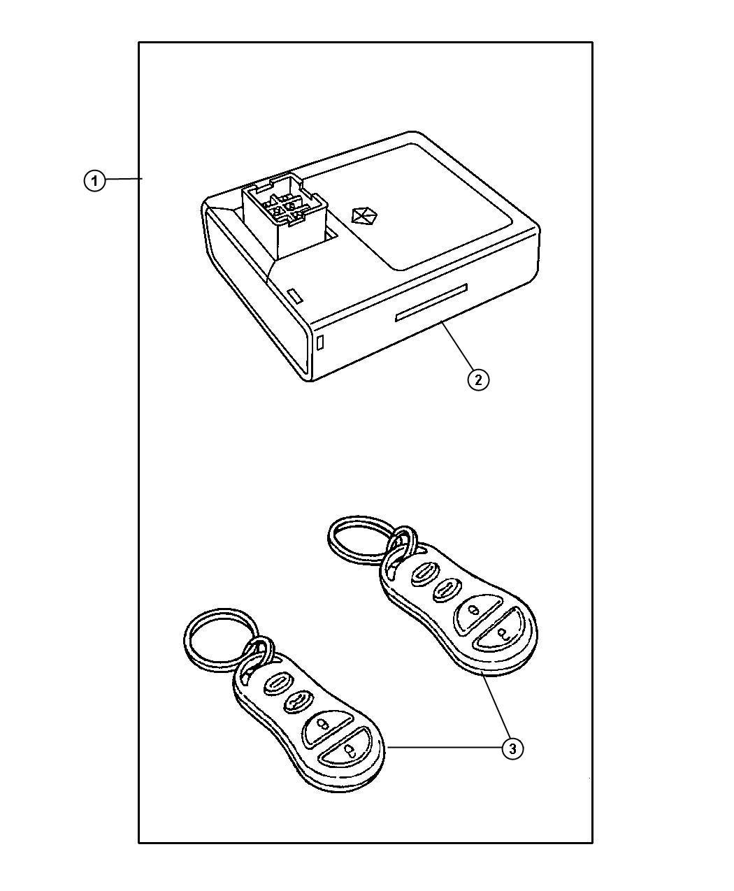 Chrysler Sebring Receiver Keyless Entry Gxr After 7 13 01 Lock Rear Components