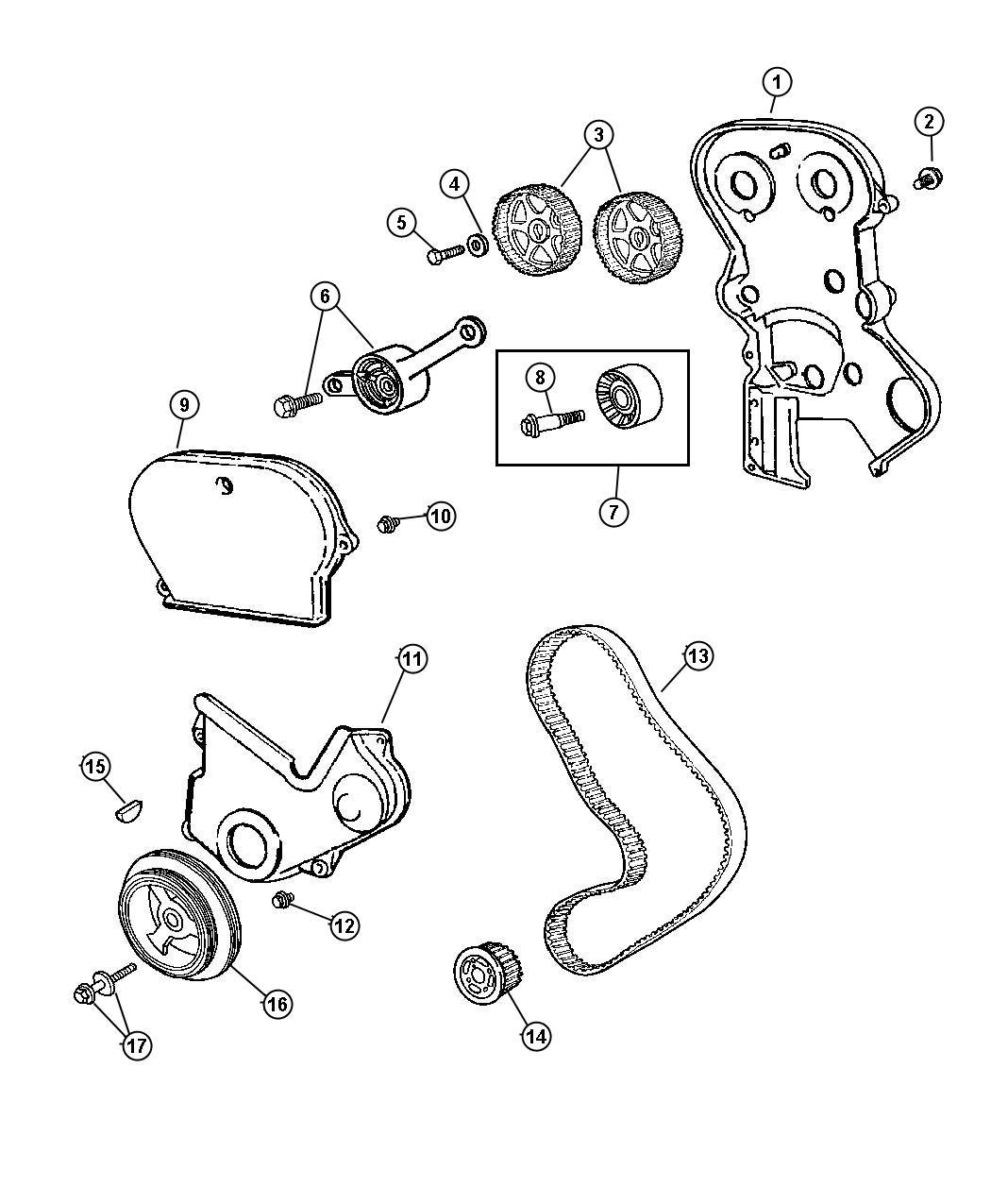 Chrysler Aspen Cover Timing Belt Inner Engine