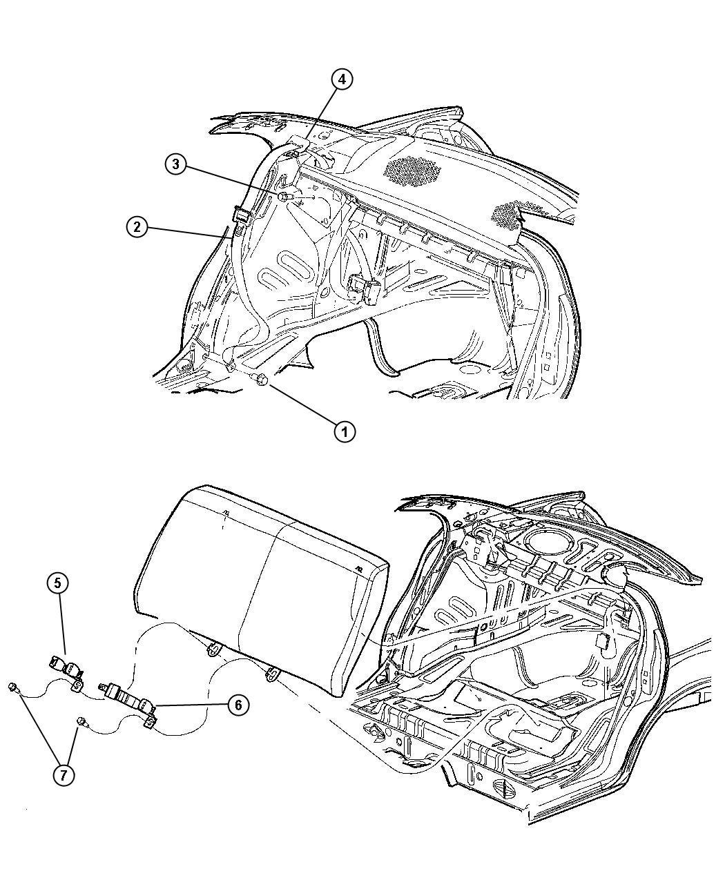 Dodge Dakota Seat Belt Rear Inner L5 Trim All Trim