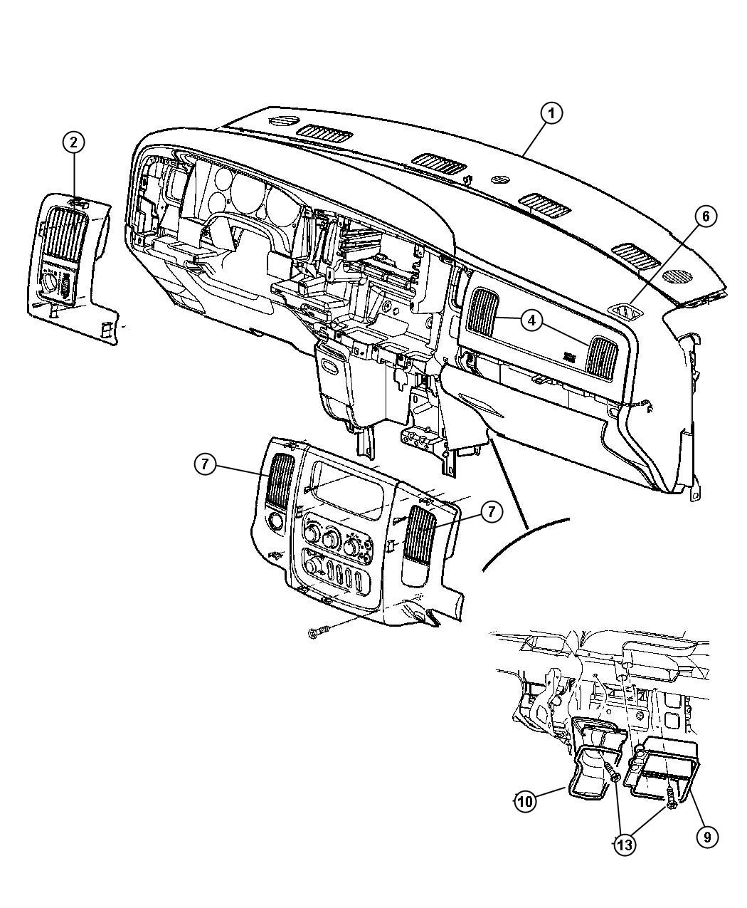 Dodge Ram Adapter Defroster Duct Air Ducts