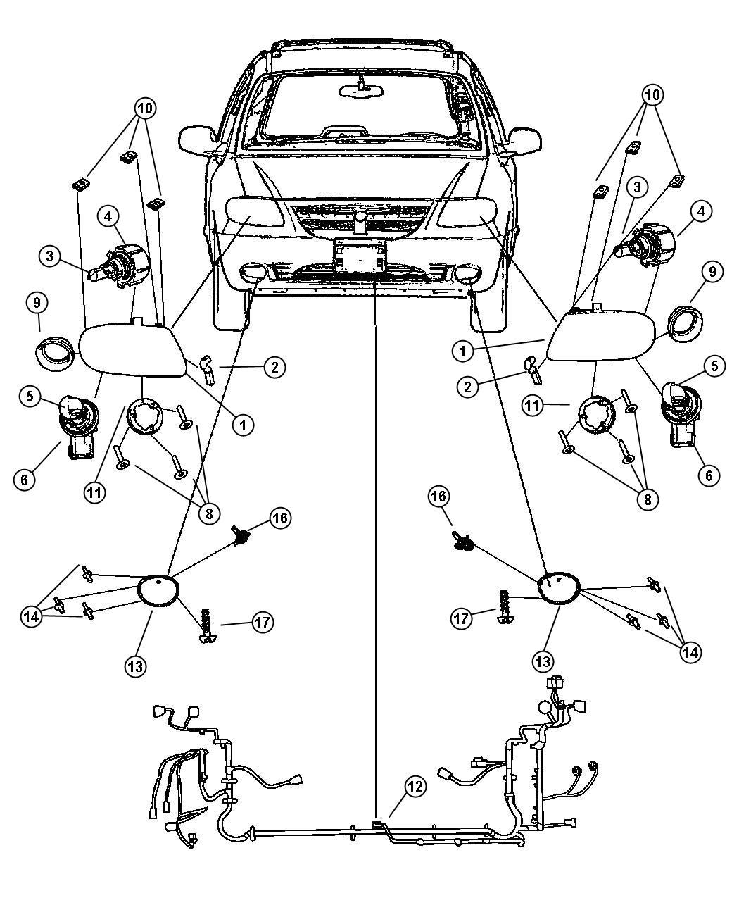 Dodge Caravan Lamp Headlamp Left Halogen Front