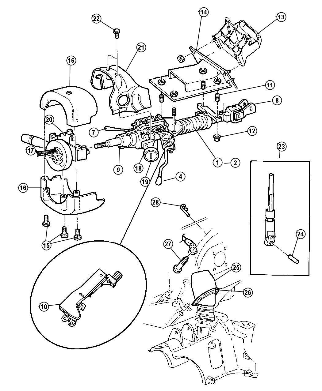Dodge Durango Interlock Steering Column Steering