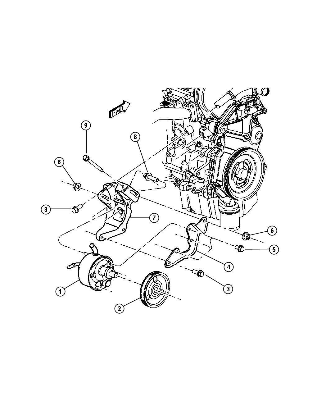 Chrysler Voyager Pulley Power Steering Pump Engine