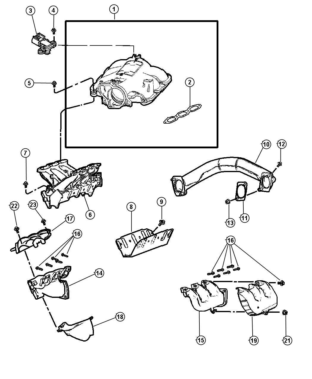 Dodge Grand Caravan Gasket Intake Plenum Engine