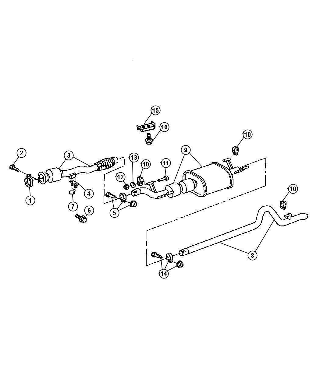 Chrysler Pt Cruiser Bracket Exhaust Muffler To Frame Extension Pipe Rear