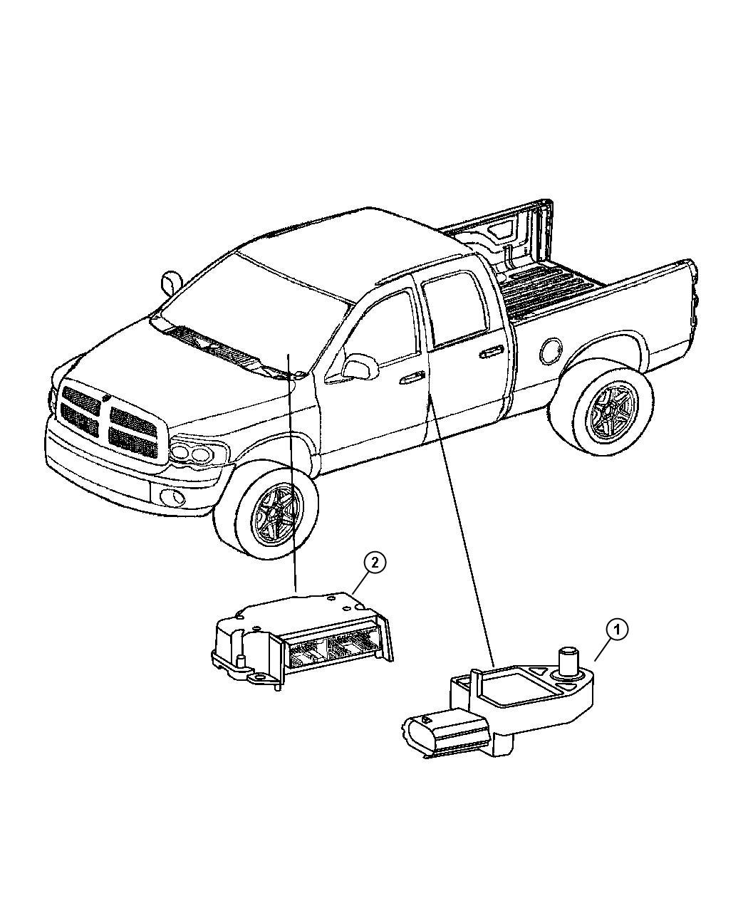 Dodge Ram Module Occupant Restraint Light Duty Without Side Airbags