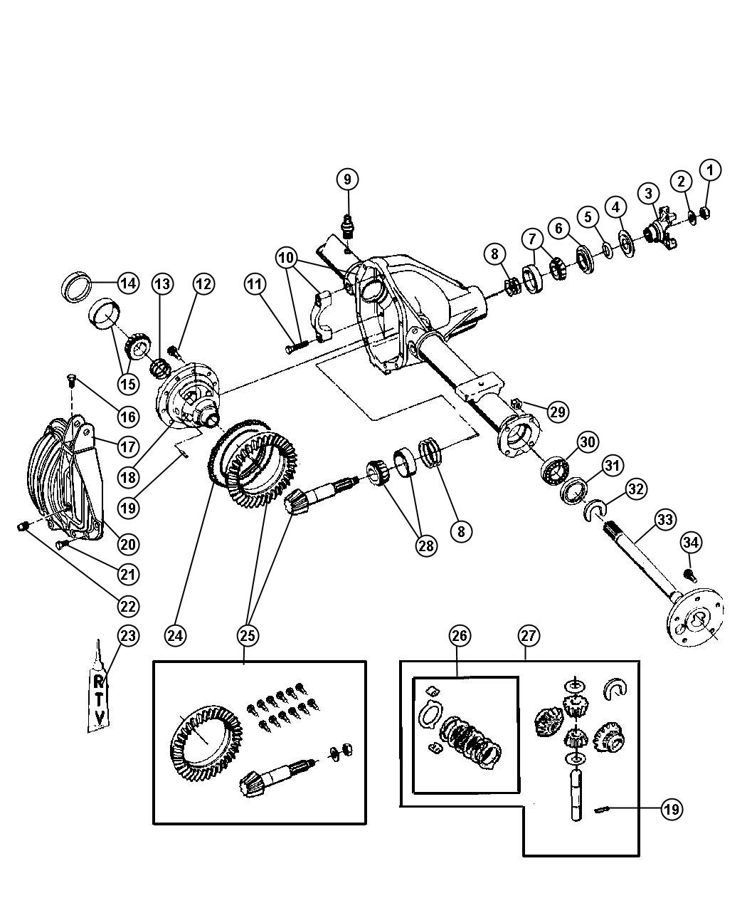 Dodge Ram Shim Kit Differential Axle Rear Dana