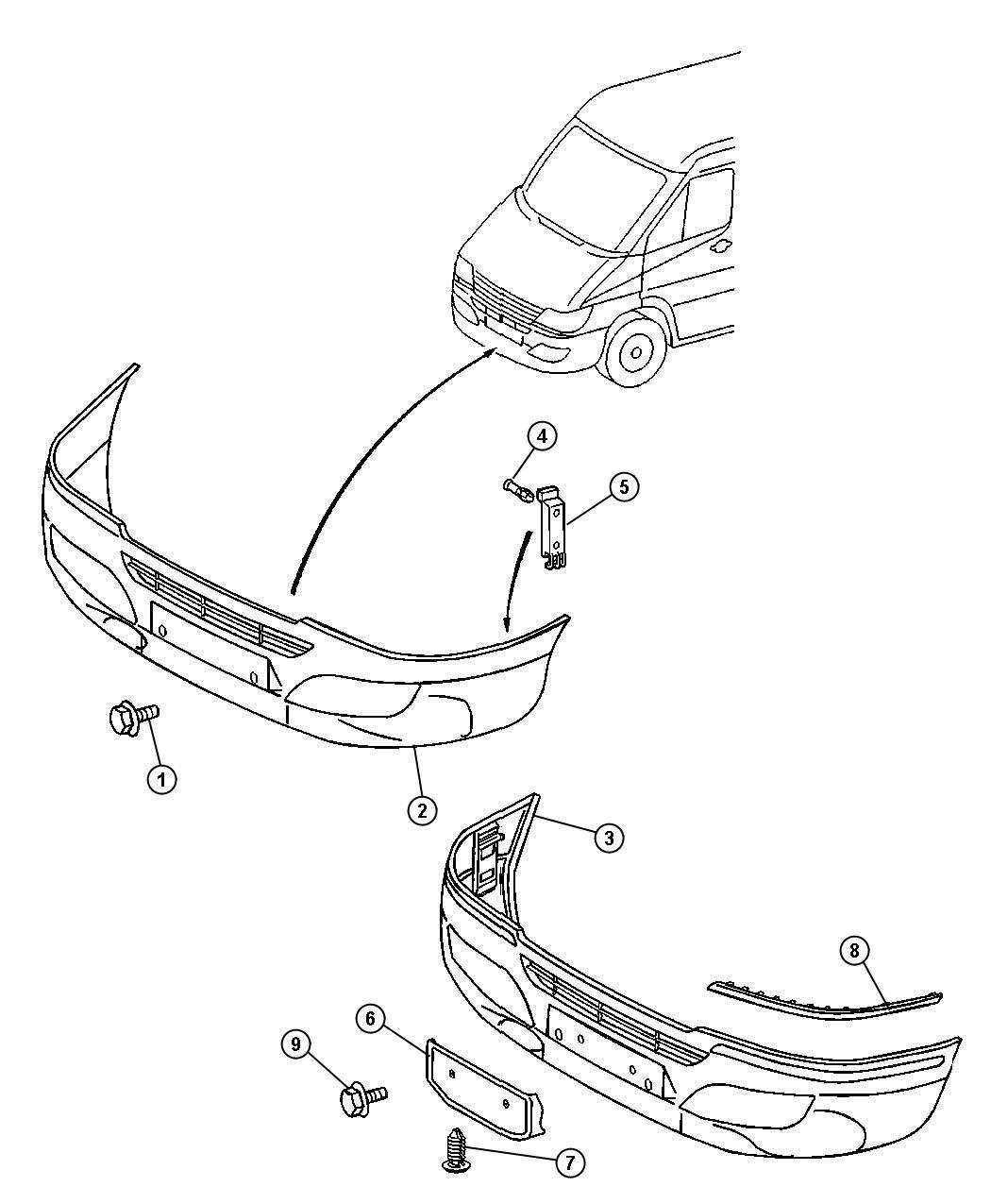 Dodge Viper Bracket Front Bumper Trim