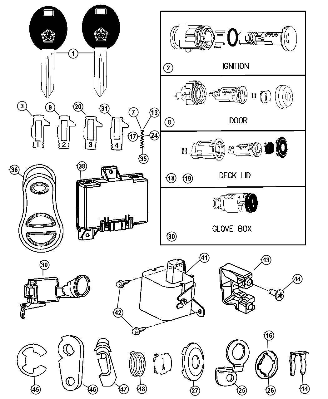 Chrysler Pt Cruiser Clip Latch Rh Locking Key Fuel