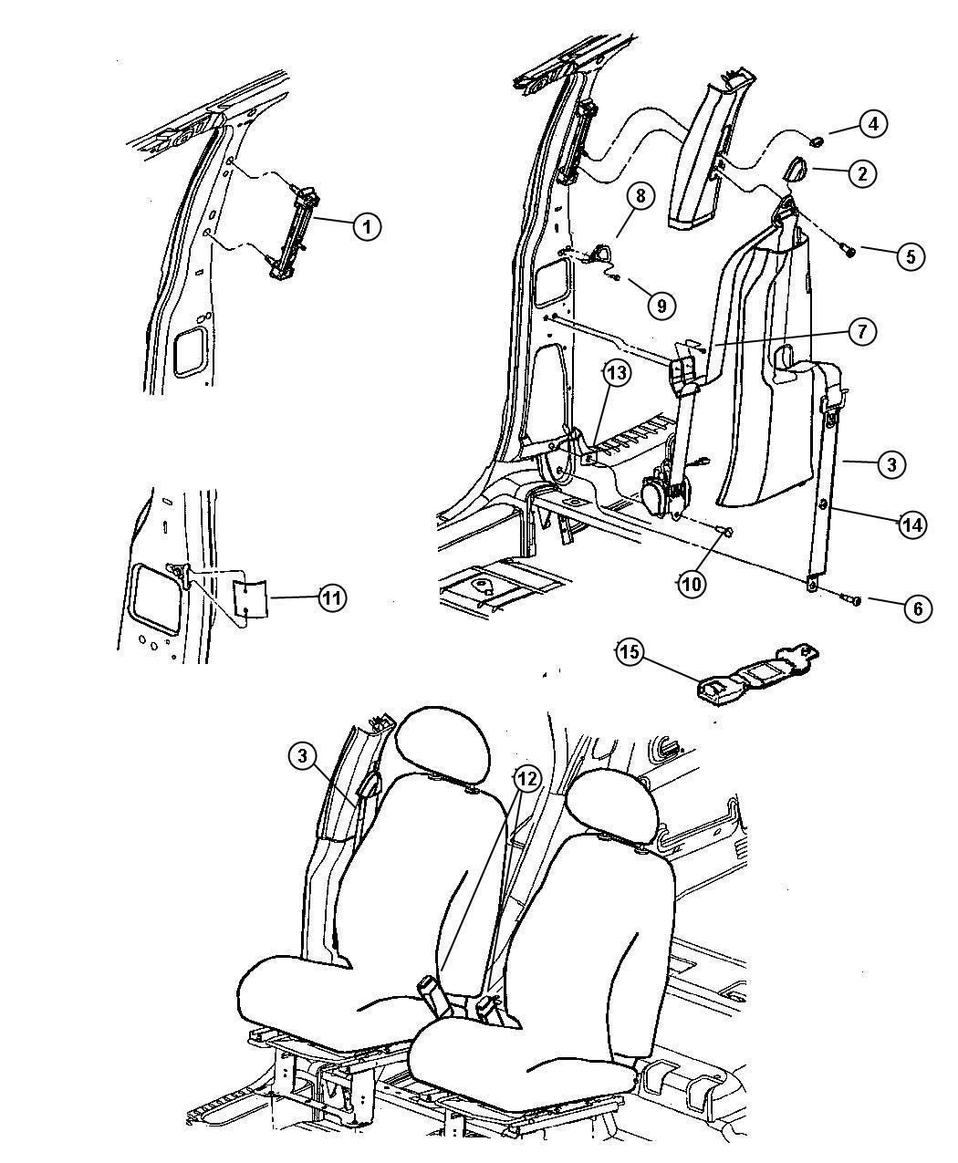 Chrysler Pt Cruiser Seat Belt Front Outer Right Dv