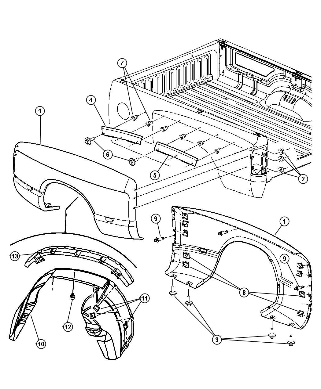Dodge Ram Bracket Right Box Front Dual Wheels Rear