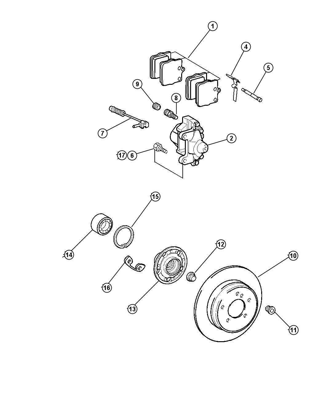 Chrysler Crossfire Caliper Disc Brake Left Engine