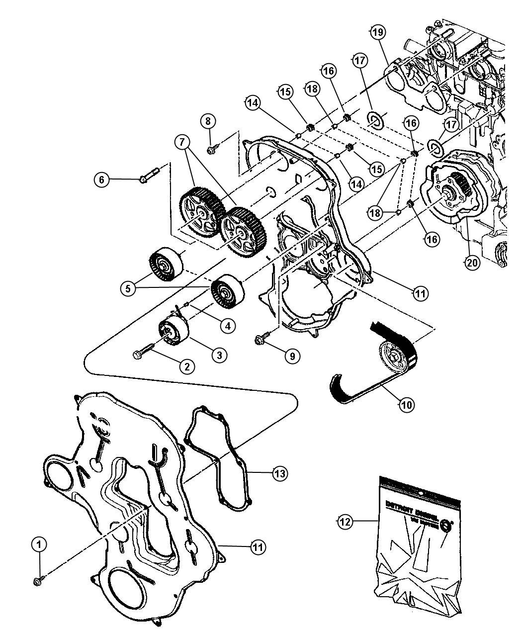 Jeep Compass Gasket Kit Timing Cover Engine Belt