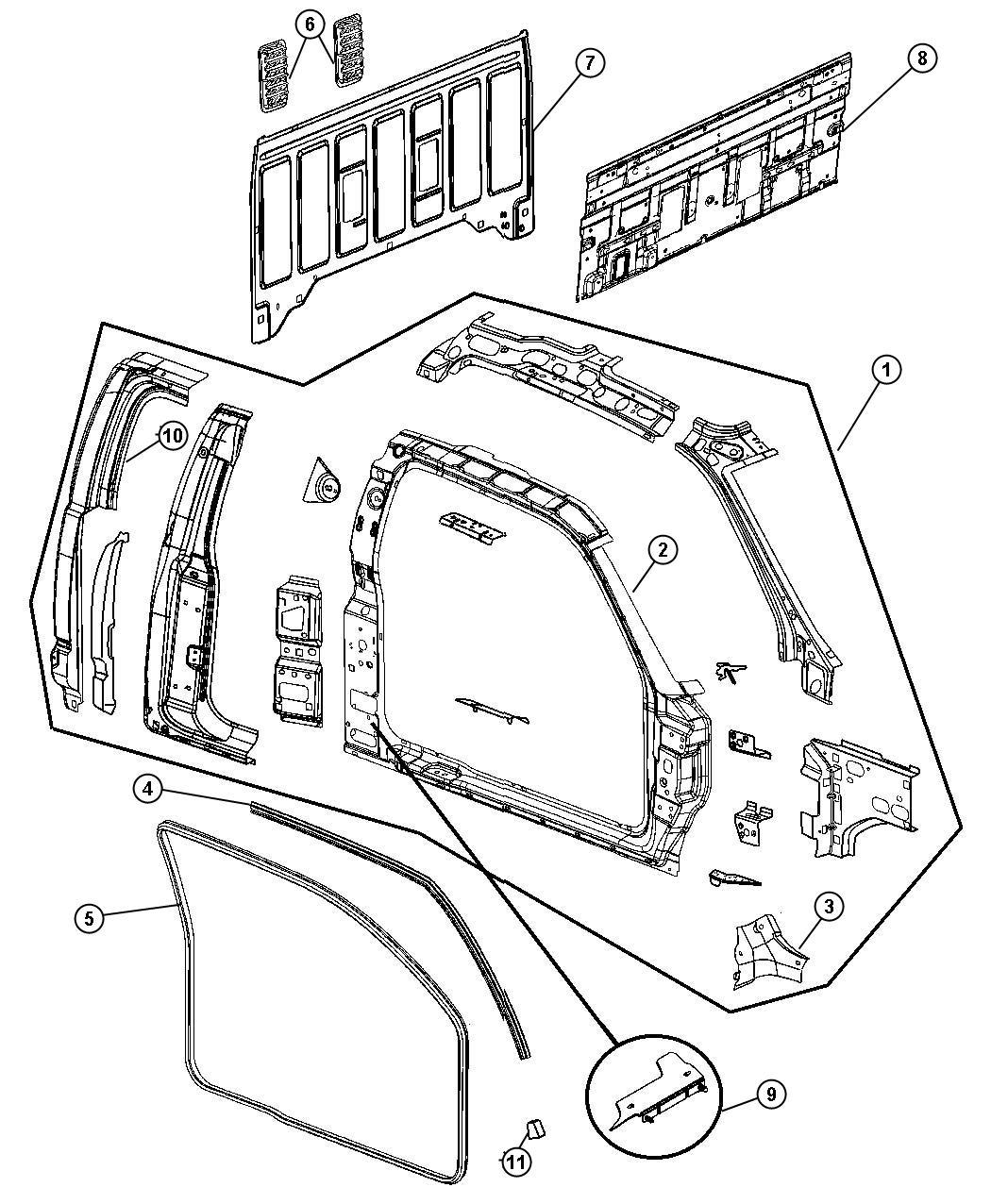 Dodge Dakota Panel Body Side Aperture Right Interior