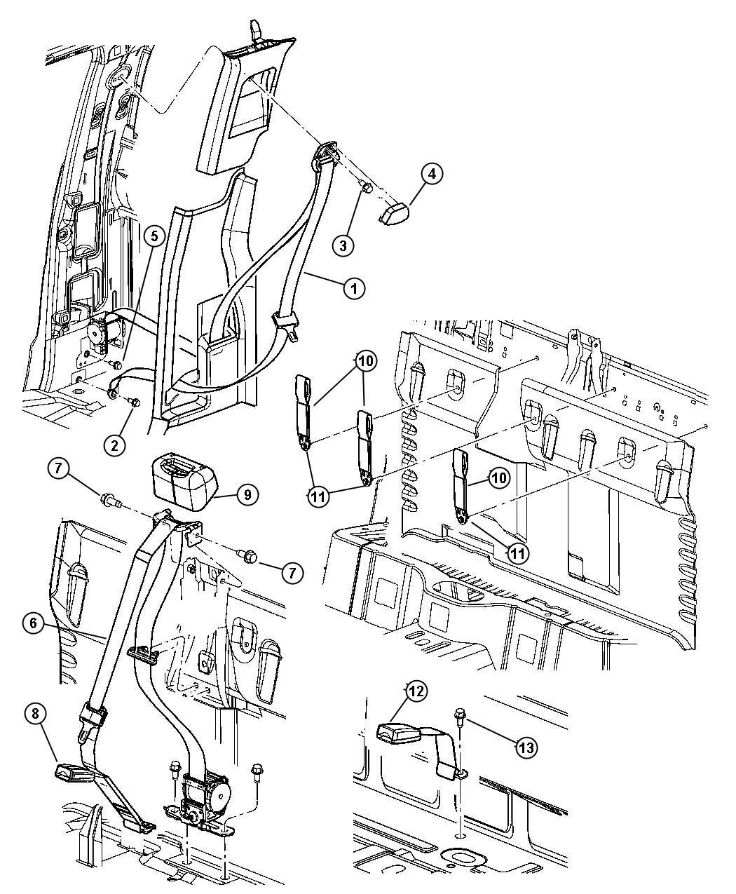 Dodge Dakota Seat Belt Buckle Half J3 Trim All